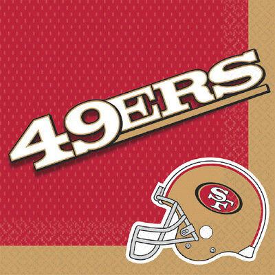 NFL SAN FRANCISCO 49ers LUNCH NAPKINS (16) ~ Birthday Party Supplies Serviettes ()