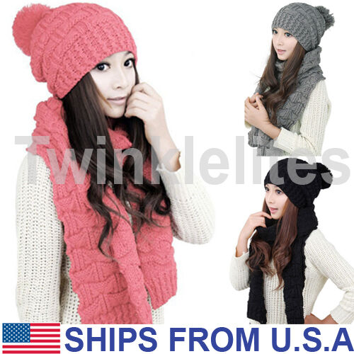 Scarf - Scarf And Hat Set Womens Warm Knitted Beanie Scarves Knit Skullcaps Winter