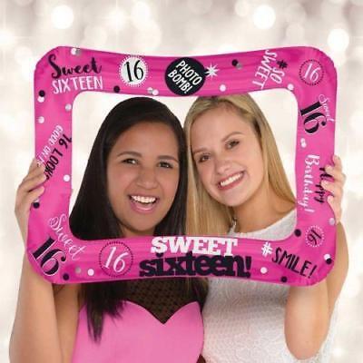 16TH BIRTHDAY SWEET 16 AIRFILL BALLOON FRAME SELFIE FUN FREE - Sweet 16 Birthday Balloons