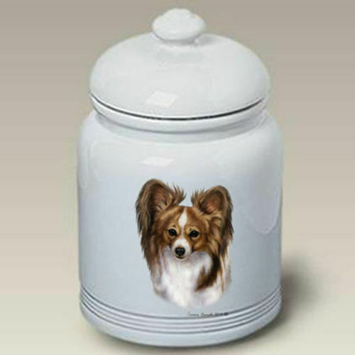Sable and White Papillon Ceramic Treat Jar TB 34319