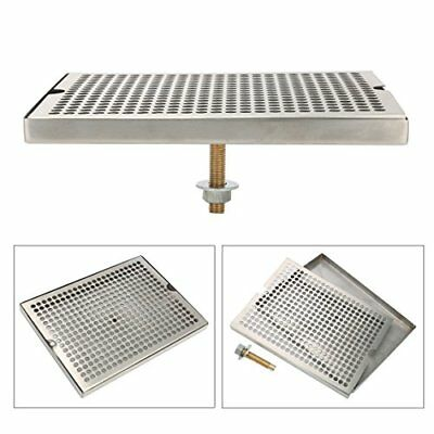 Stainless Steel Tower Cutout Draft Beer Drip Tray With Brass Drainnut 12x9