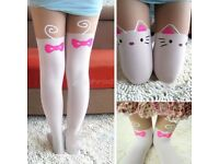 2 new pairs of Cute Women Knee High Silk Cat Tattoo Print Tights