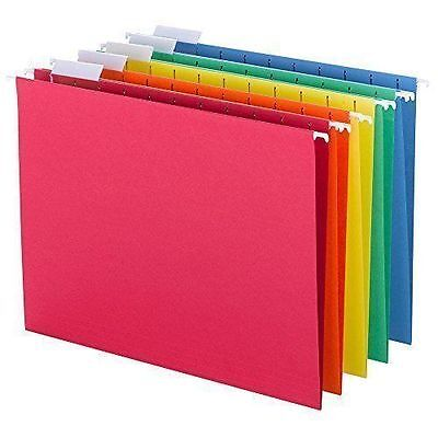 Smead Hanging File Folders, 1/5-Cut Tab, Letter Size Assorted Primary Colors, 25