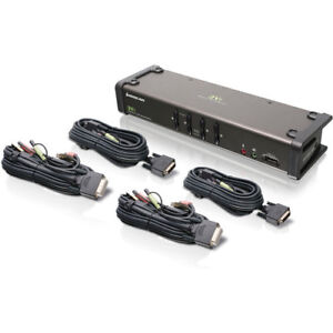 4-Port DVI KVMP Switch with Audio and Cables