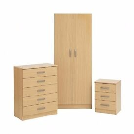 CHEAPEST PRICE GUARANTEED!! New 3 Piece Bedroom Set With Wardrobe/Chest Of Drawer & Bedside Table