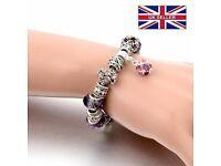 Silver Crystal Charm Bracelets, Purple Murano Glass Beads bracelets&bangles Love DIY, Bracelet Femme