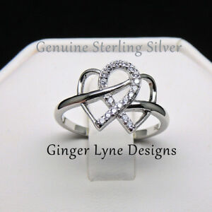 Infinity rings 925 SS with non tarnish platinum plating 100% NEW