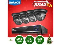 SANNCE 8CH 720P DVR Outdoor Night Vision CCTV Security Camera System Waterproof NO HDD
