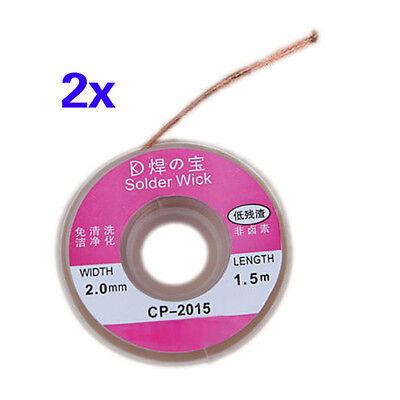 2Pcs Solder Wick Remover Desoldering Braid Wire Sucker Cable Fluxed Flux AD