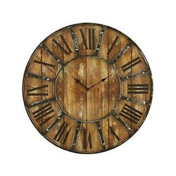 Vintage Wall Clock Rustic Antique Large 24 Round Distressed Wood Design Face