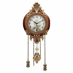 Wooden Silent Wall Clock Pendulum Mahogany Traditional Ornate Carved Elegant 9