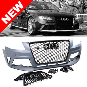 09 12 audi a4 s4 b8 rs4 style front bumper conversion kit w gloss black grilles. Black Bedroom Furniture Sets. Home Design Ideas