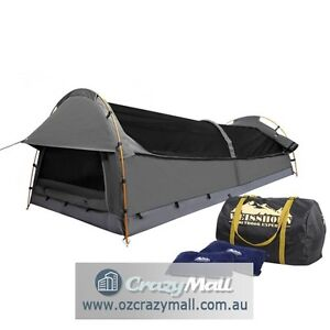 Double Swag Camping Tent w/ Pillows Bag Celadon/Green/Navy/Grey Sydney City Inner Sydney Preview