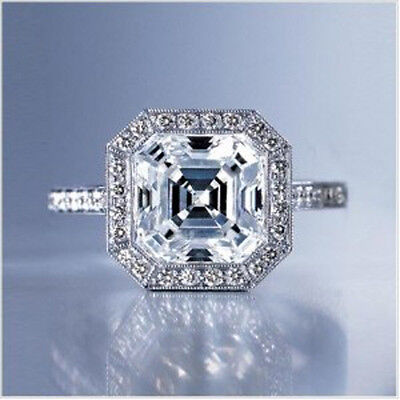 2.60 Ct. Asscher Cut Diamond Round Cut Pave DAINTY Engagement Ring G, VS1 GIA