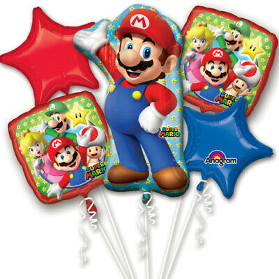 Super Mario Brothers 5pc Bouquet Birthday Party Foil Balloons Decorations - Mario Brothers Decorations
