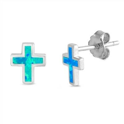 CROSS EARRINGS WITH BLUE OPAL STERLING SILVER EARRINGS with free gift box
