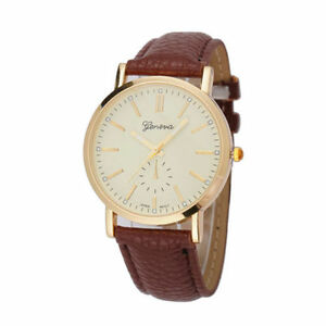 Luxury-Faux-Leather-Analog-Quartz-Wrist-Watch-BROWN-Men-Ladies-Geneva-UK-SELLER