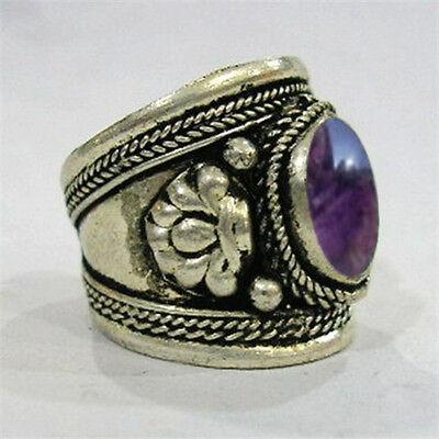 Large Adjustable Tibetan Silver Plated Amethyst Gemstone Dorje Amulet Ring