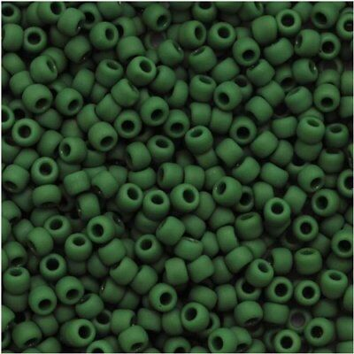 11/0 Opaque Frosted Pine Green TOHO Round Glass Seed Beads 15 grams #47HF
