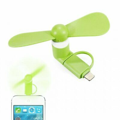 Portable 2 in 1 Phone Mini Fan Green  Cooling Cooler for iPhone Huawei Samsung
