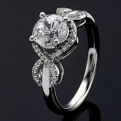 1 CT D VS2 Round Cut Diamond Solitaire Engagement Ring 14k White Gold Enhanced