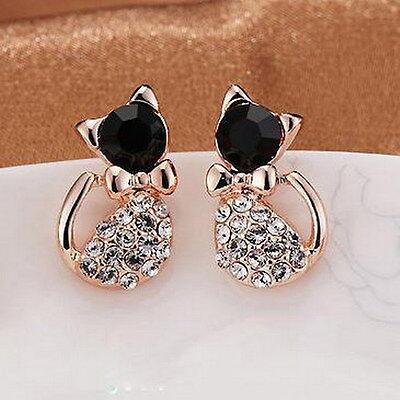 1 Pair Elegant Animal Cats Women Gold Crystal Rhinestone Love Ear Stud Earrings
