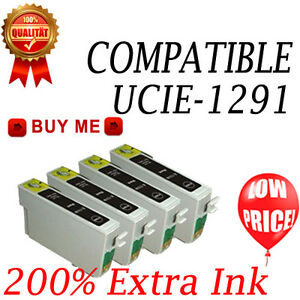 4 Black Ink Cartridge Replace For SX435W BX535WD SX235W WF-7525 SX420W SX230