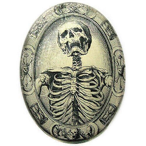 Antique Memento Mori Skeleton Glass Cameo Cabochon Jewelry Supplies 40x30mm Cab