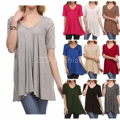 - USA Womens V-Neck A-Line Tunic Short Sleeve Loose Top Shirt Plus Rayon Span PLUS