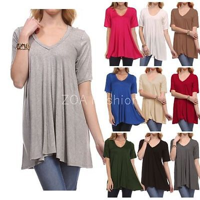 $11.95 - Fashion Women's V-Neck A-Line Tunic Short Sleeve Loose Top Blouse T-Shirt Plus