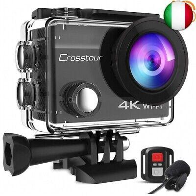 Crosstour 4K 16MP Action Cam WIFI Telecomando Subacquea Camera con Microfono