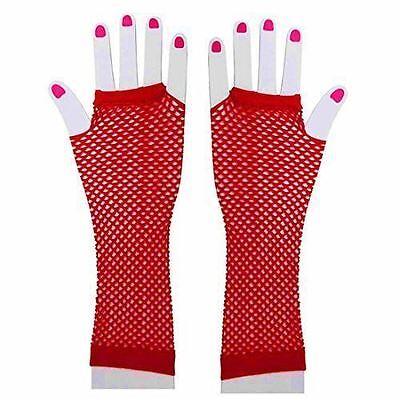 BW-3008 Red Fishnet Fingerless Gloves Gogo Dancer Rave Raver Wear