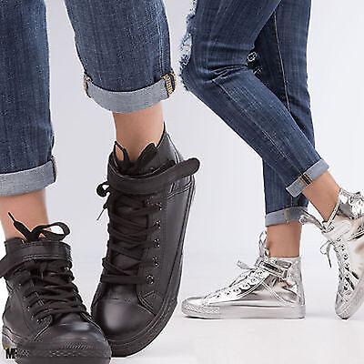 scarpe donna sportive sneakers alte stringate aviatore ginnastica lacci W-3032