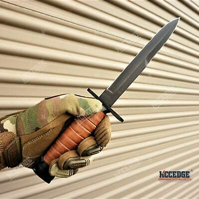 """11 3/4"""" FIXED BLADE WWII M3 BAYONET TRENCH KNIFE + SCABBARD w/ Wire Hook"""