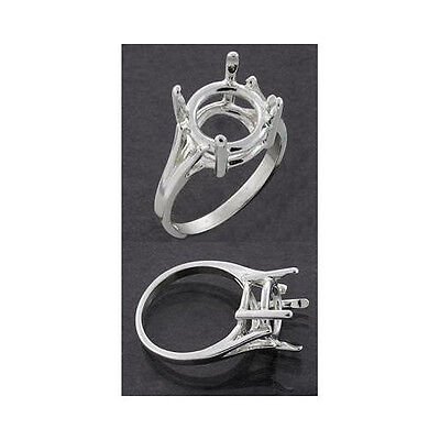 (9mm - 15mm Round) Wire Mount Sterling Silver Ring Setting (Ring Size 7) 15mm Round Wire