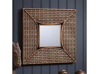 NEW Square Copper Bronze Wall Mirror Metal Bathroom Hall Bedroom Lounge Morrocan 61cm RRP £150
