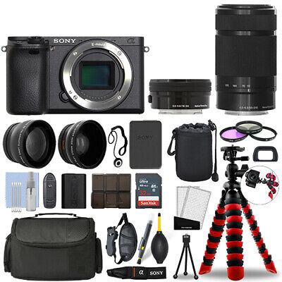 Sony Alpha a6400 Camera Black + 16-50mm + 55-210mm 32GB Multi Lens Bundle