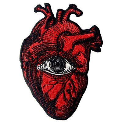 Embroidered Patches Iron Sew On Patches transfers Badges appliques Eye On Heart - Heart Eye Patch