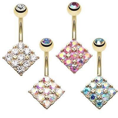 Fancy Belly Ring (Golden Sparkle Overload Belly Button Ring Clear Pink Aqua Gold Navel Fancy AB CZ )