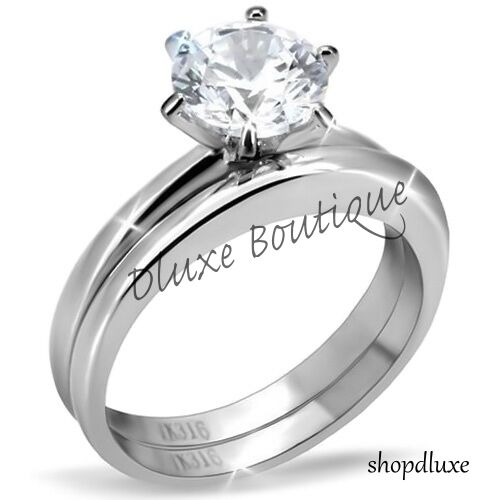 1.50 Ct Round Cut Aaa Cz Stainless Steel Wedding Ring Band Set Women