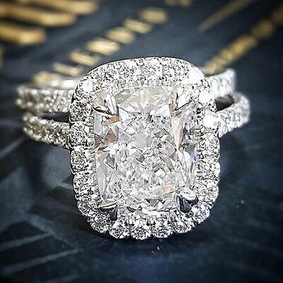 2.40 Ct Cushion Cut Halo U-Pave Diamond Engagement Bridal Set Ring GIA H,VS1 14K