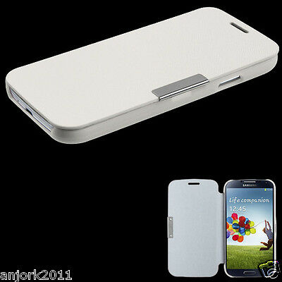 Samsung Galaxy S4 i337 i9500 Flip Case Cover w/ Magnetic Flap Solid White ()