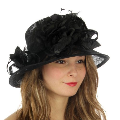 Kentucky Derby Church Wedding Sinamay Dress Hat N8B Black