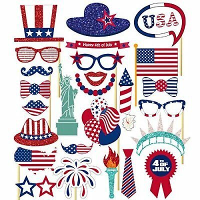 26PCS 4th Of July Independence Day Party Masks Decorations Photo Booth Props](July 4th Decorations)