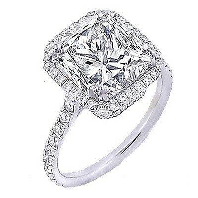 2.10 Ct Princess Cut Halo Round U-Setting Diamond 18K Engagement Ring F,VS1 GIA