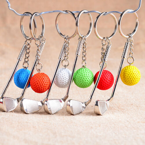 Classic Sports Silver Golf Clubs Keychain Keyring Key Chain Ring Gift White &l 2