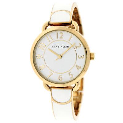 Anne Klein Ladies White and Gold-Tone Bangle Bracelet Watch AK/1606WTGB NEW!
