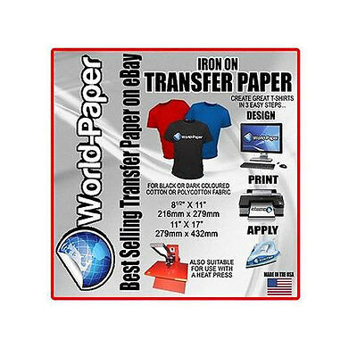 Inkjet Heat Transfer Paper For Dark Fabrics Iron On 10 Sheets - 8.5 X 11
