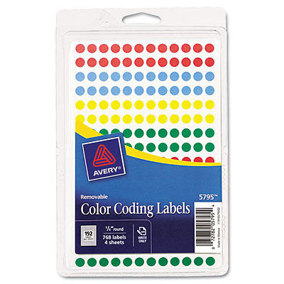 Avery Handwrite Only Removable Round Color-Coding Labels 1/4 Dia Assorted 768/PK