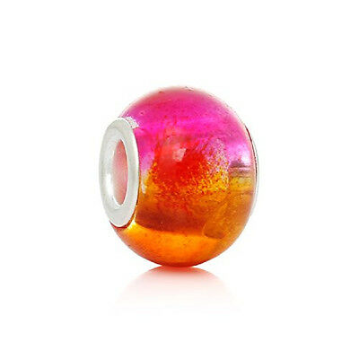 Five (5) Pink & Orange Glass European Murano Lampwork Beads Compatible with Euro Bracelets